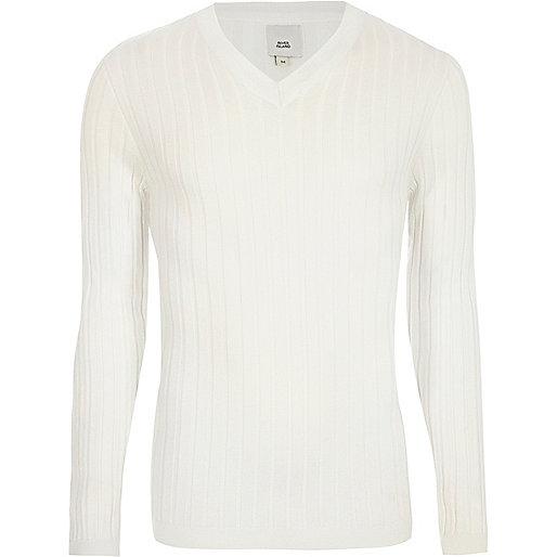 Cream rib muscle fit V neck jumper