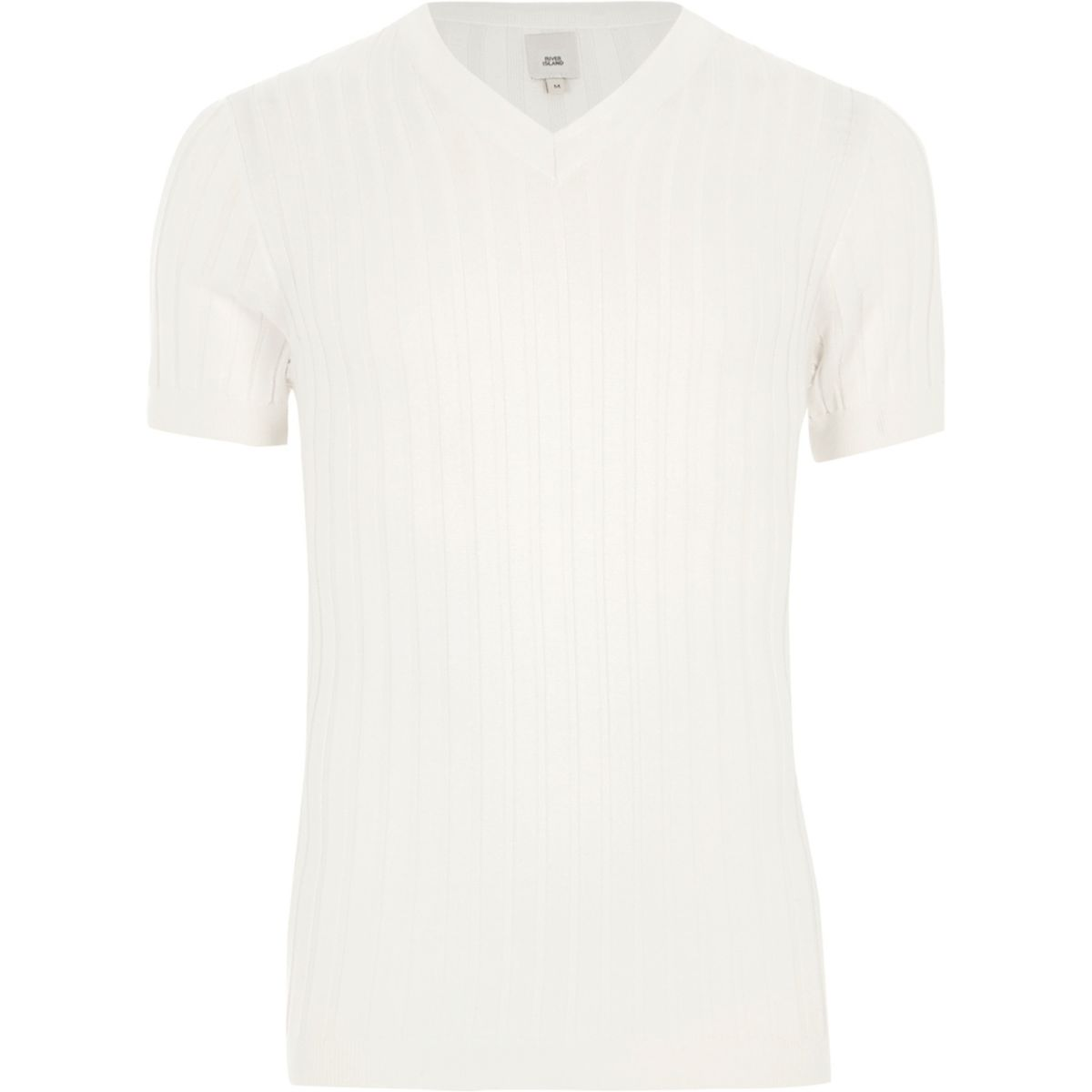 Cream rib muscle fit V neck T-shirt