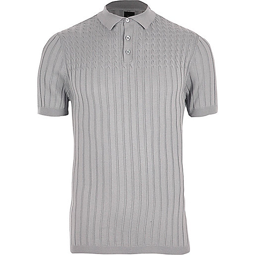 Grey ribbed cable knit muscle fit polo shirt