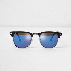 Black half frame blue lenses retro sunglasses
