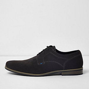 Grijze suède derby schoenen