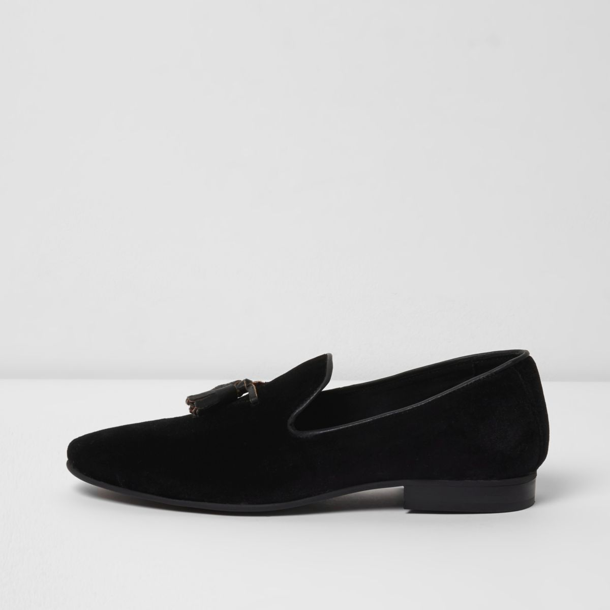 Black velvet tassel loafers