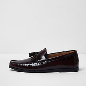Burgundy patent leather tassel loafers