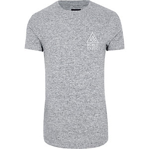 Grau meliertes, langes Muscle Fit T-Shirt