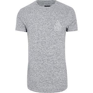 Grijs gemêleerd lang aansluitend T-shirt