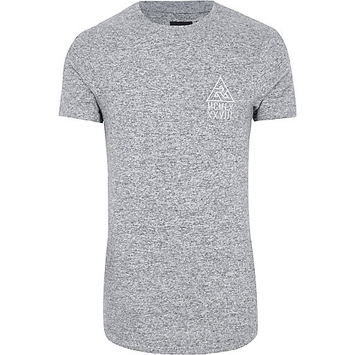Grey marl muscle fit longline T-shirt