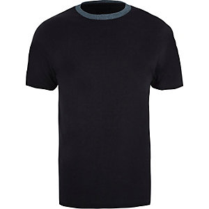 Navy contrast crew neck slim fit T-shirt