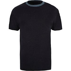 Marineblauw slim-fit T-shirt met ronde hals en contrast