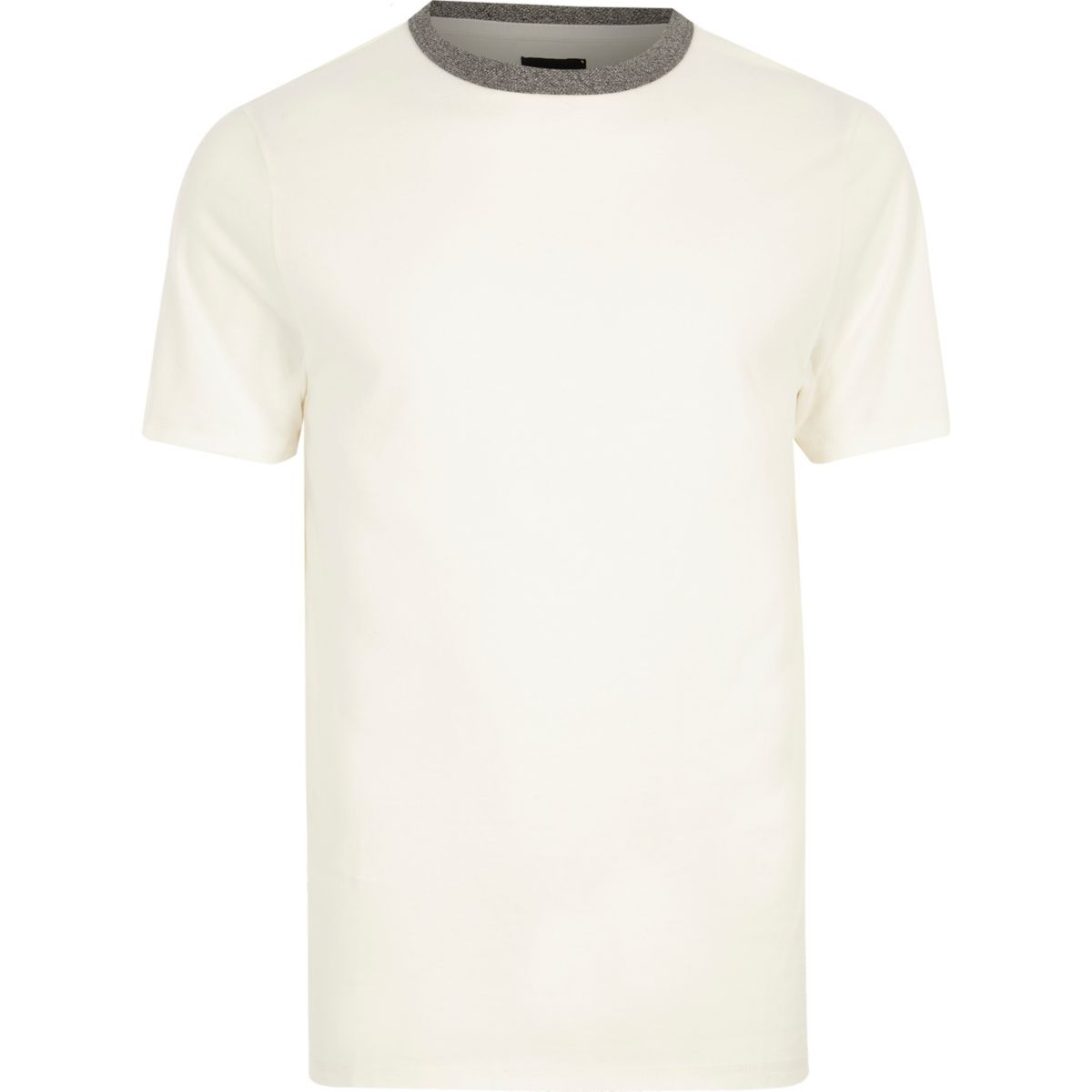 Cream contrast crew neck slim fit T-shirt