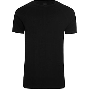 Black jacquard short sleeve slim fit T-shirt