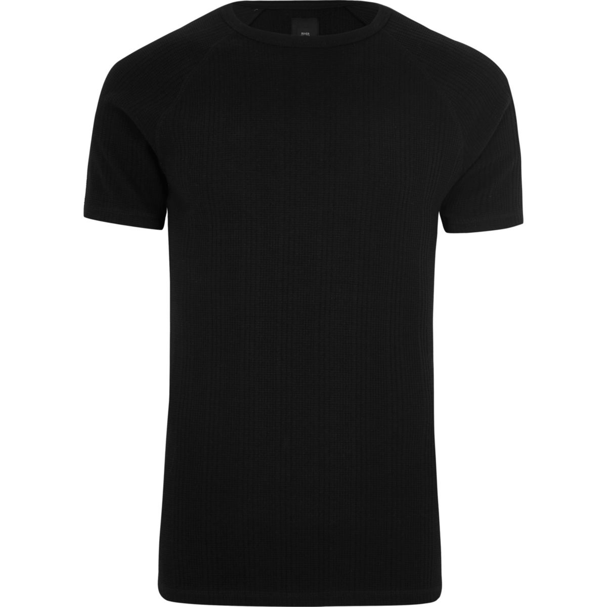 Black jacquard short sleeve slim fit T-shirt