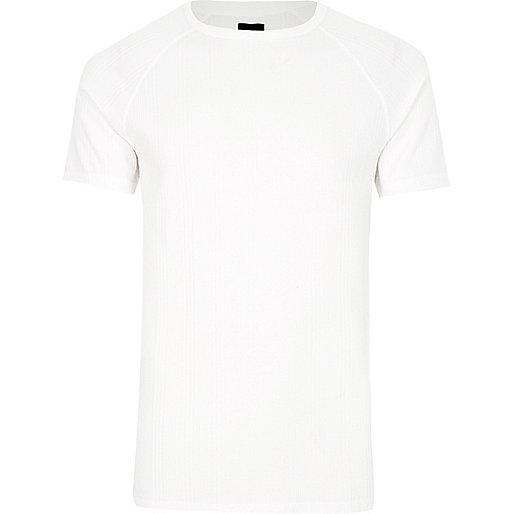 White jacquard short sleeve slim fit T-shirt
