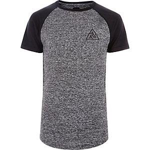 T-shirt ajusté en maille gris à manches raglan