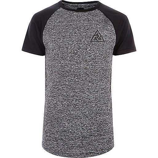Grey raglan sleeve muscle fit knit T-shirt