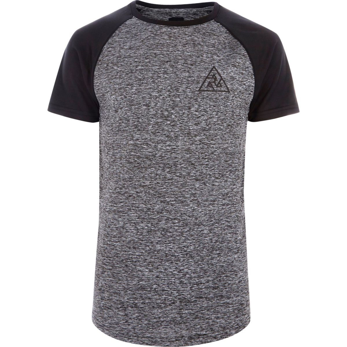 Grey raglan sleeve muscle fit knit T-shirt