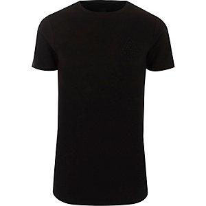 T-shirt ajusté côtelé noir à logo