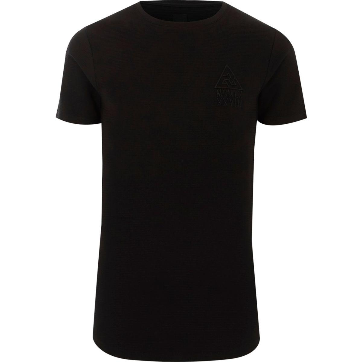 Zwart geribbeld aansluitend T-shirt met logo