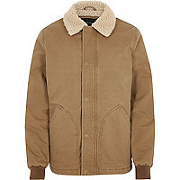 Big and Tall light brown borg collar jacket