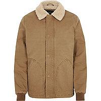 Big and Tall light brown fleece collar jacket