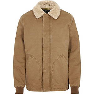 Big and Tall light brown borg collar jacket