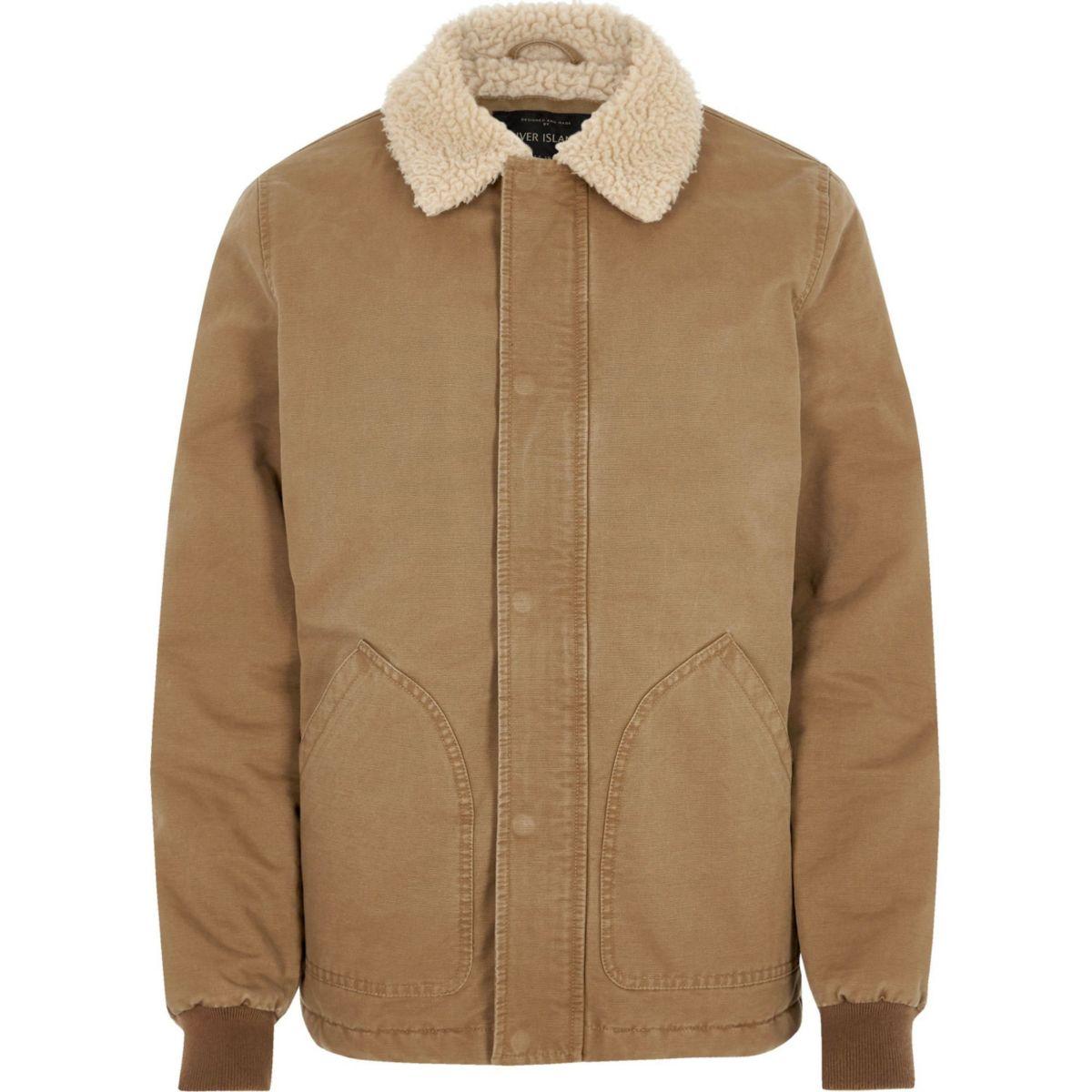 Big & Tall – Veste marron clair avec col imitation peau de mouton