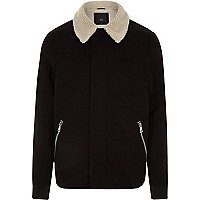 Big and Tall black fleece collar jacket