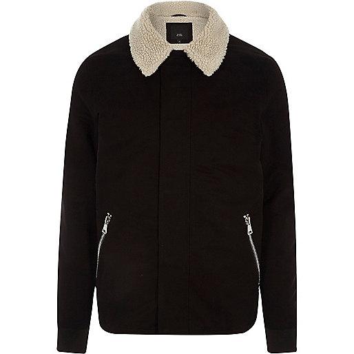 Big and Tall black borg collar jacket