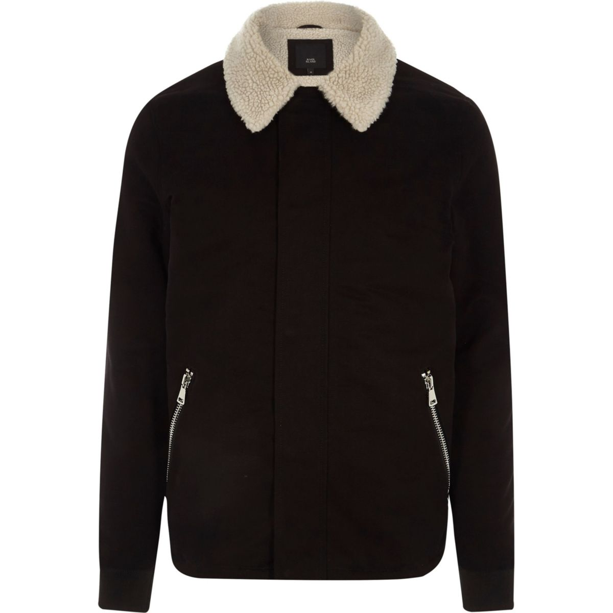 Big & Tall – Veste noire avec col imitation peau de mouton