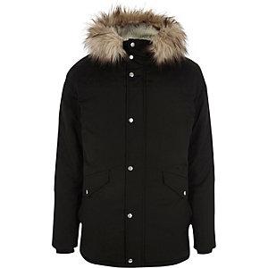 Big and Tall black faux fur trim hooded parka