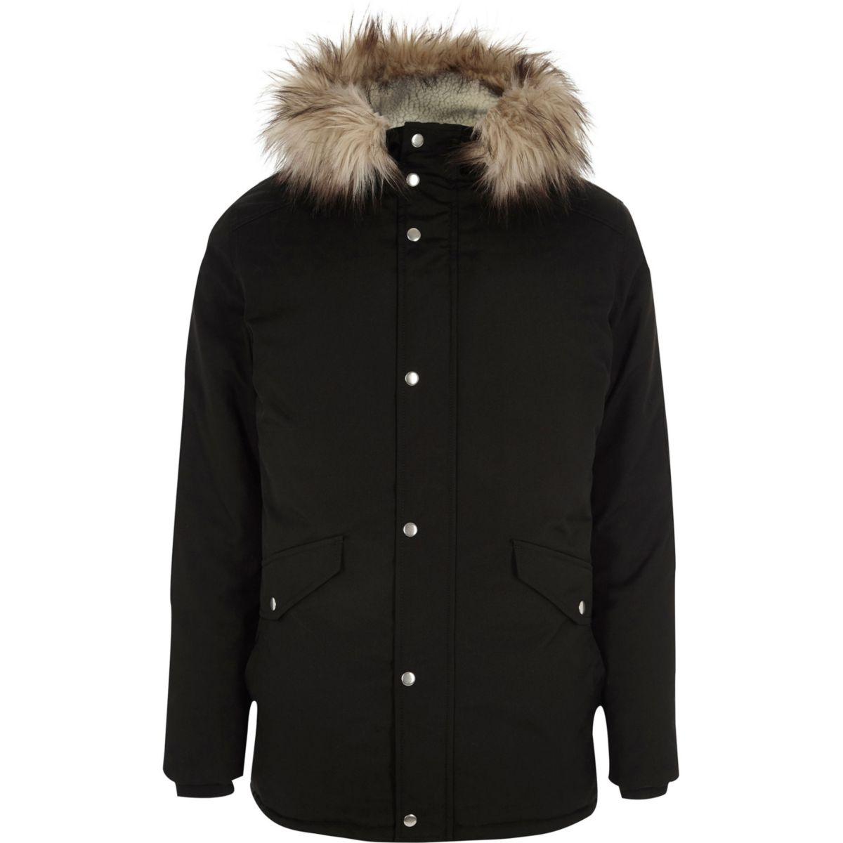 Big & Tall – Parka à capuche noire bordée de fausse fourrure