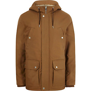 Big and Tall brown hooded fleece lined jacket