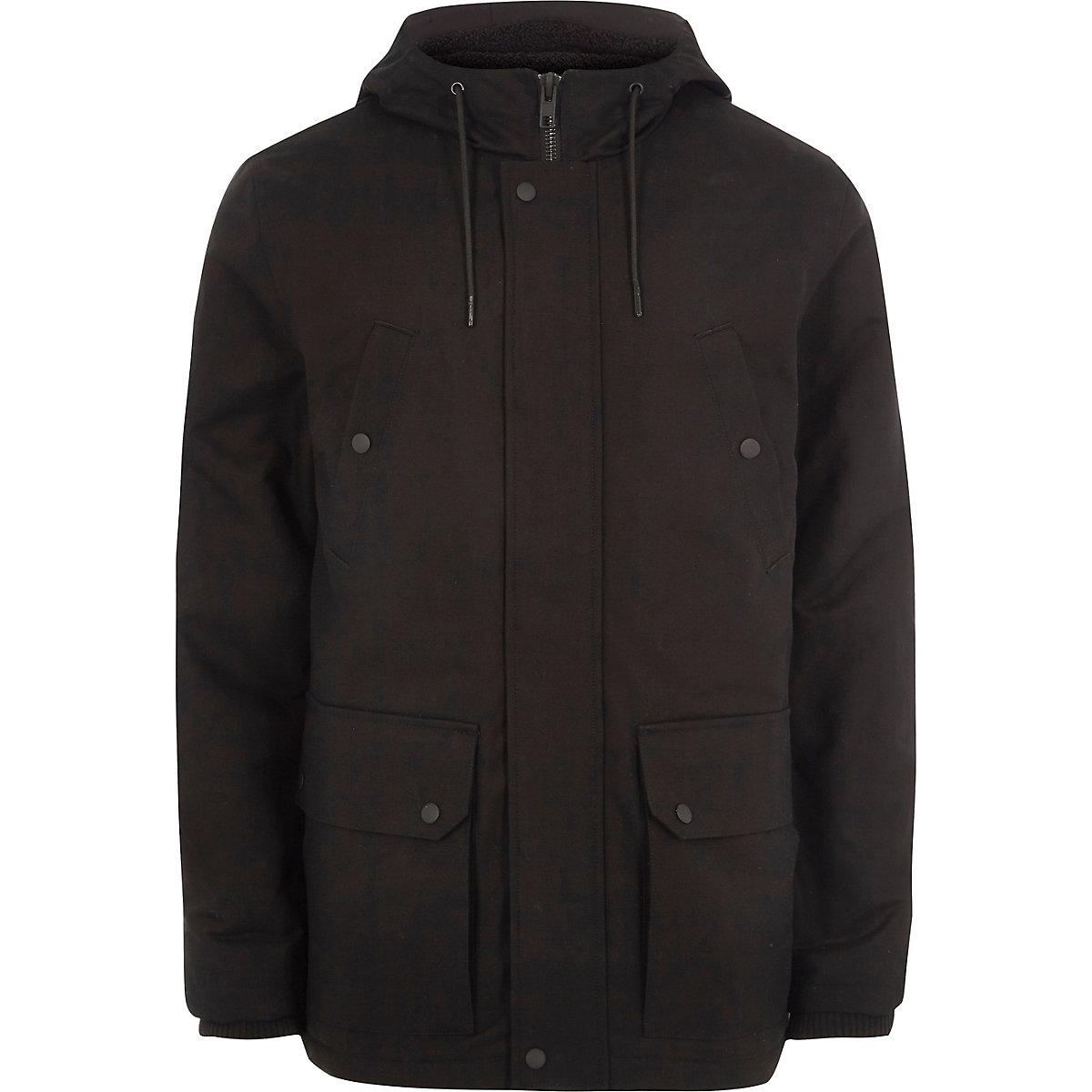 Big and Tall – Veste noire à capuche avec doublure imitation mouton