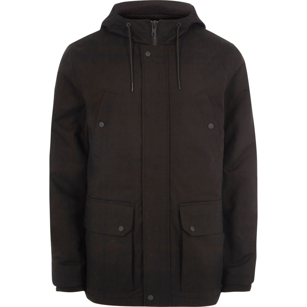 Big and Tall black hooded fleece lined jacket