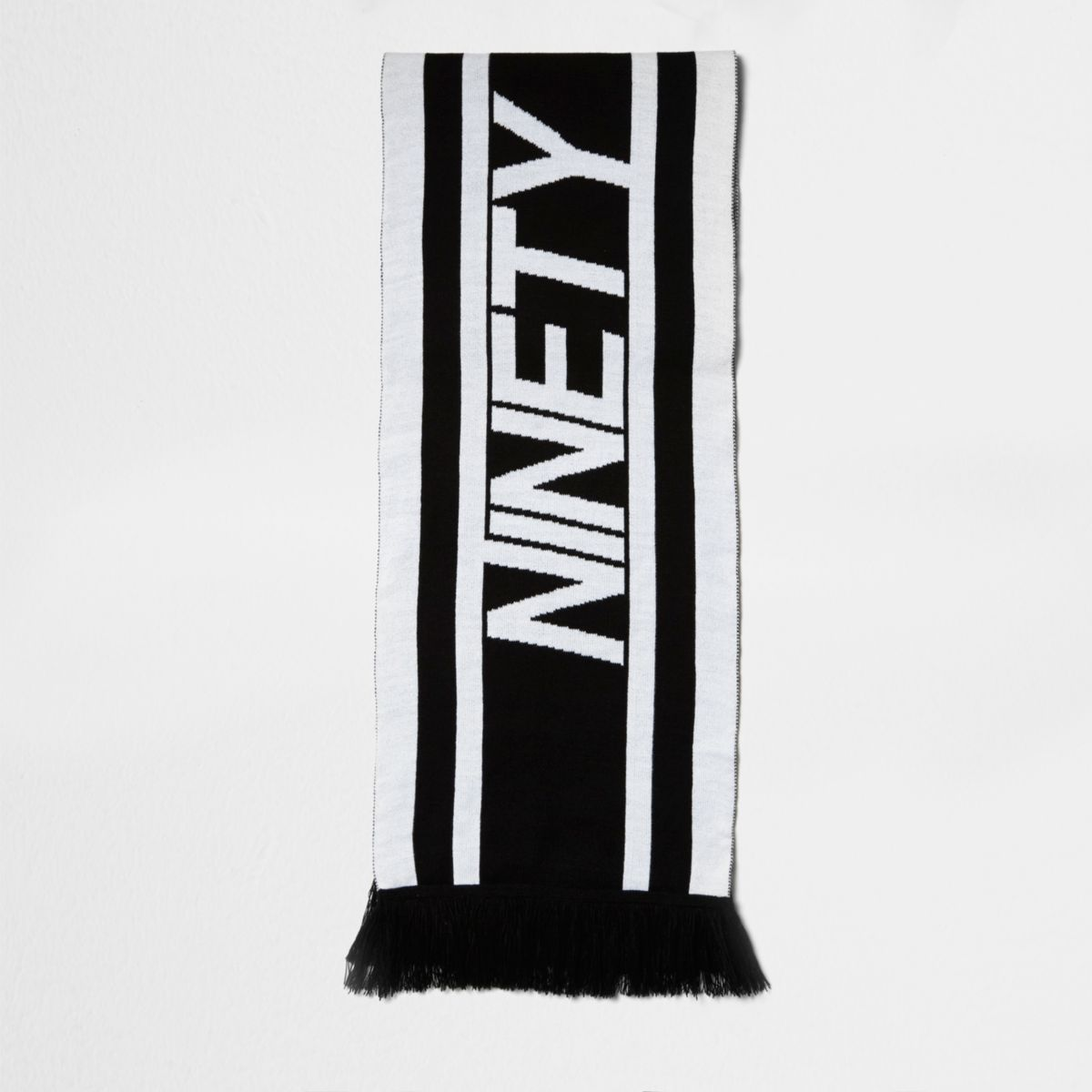 Black knit 'ninety' football scarf