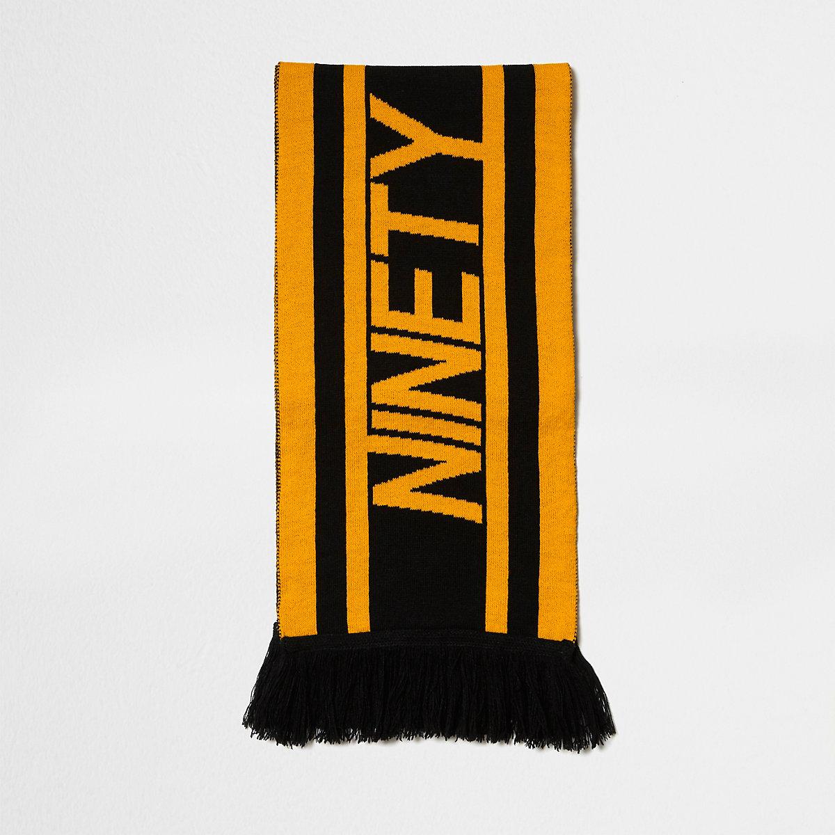 Écharpe de football «ninety» noire et jaune