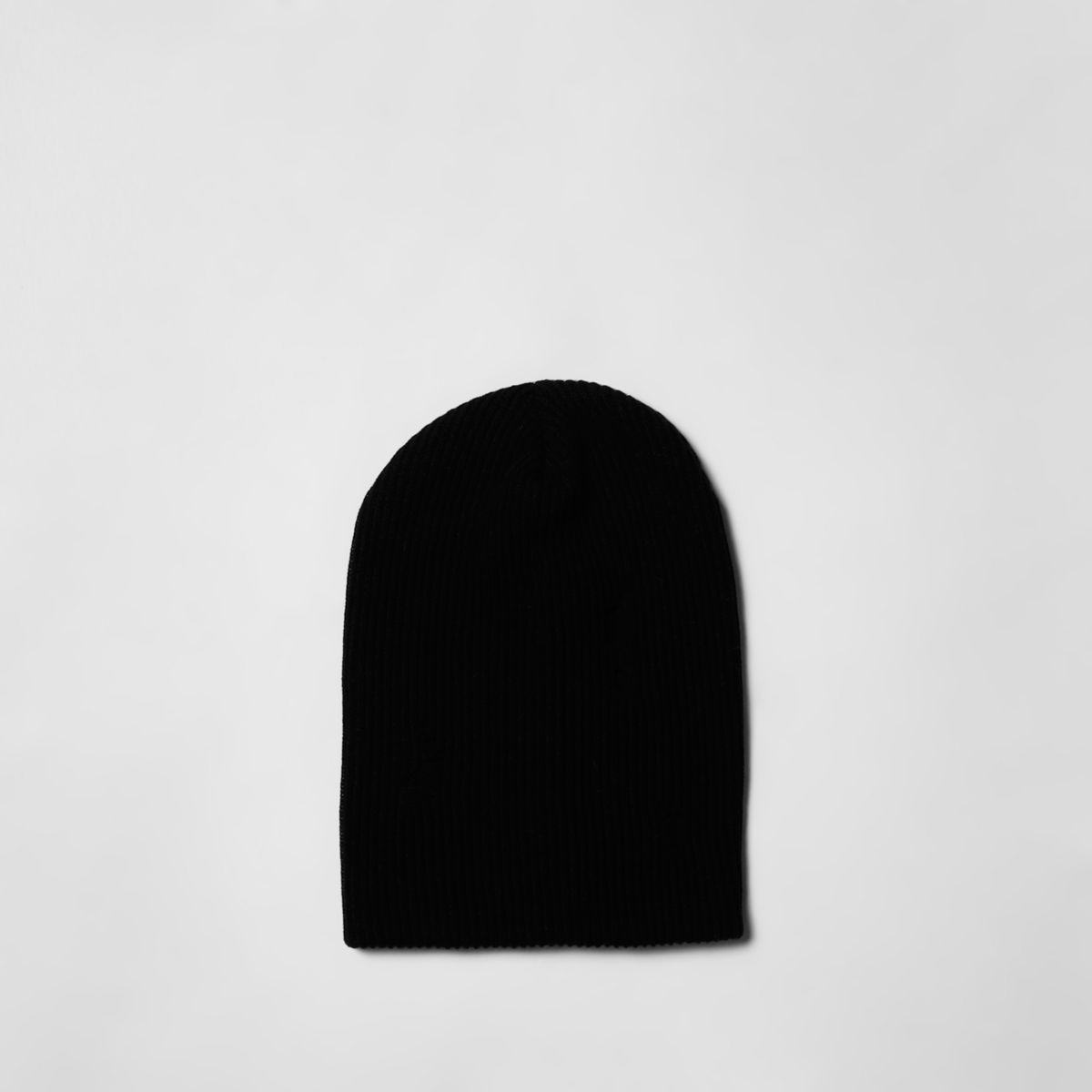Black slouch back beanie hat