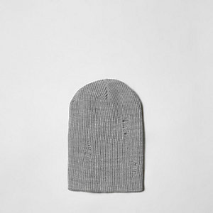 Grey slouch back beanie hat