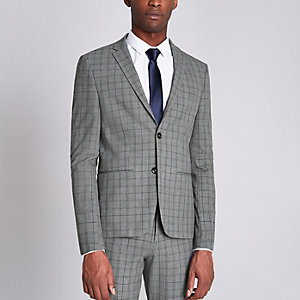 Grey check ultra skinny fit suit jacket