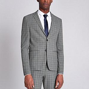 Veste de costume super skinny à carreaux grise