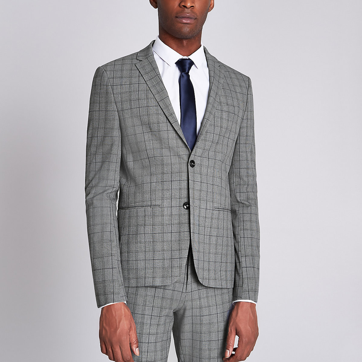 Grey check super skinny fit suit jacket
