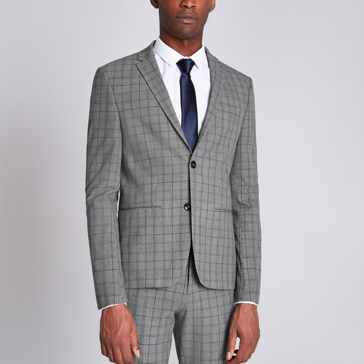 Grey check super skinny fit suit jacket