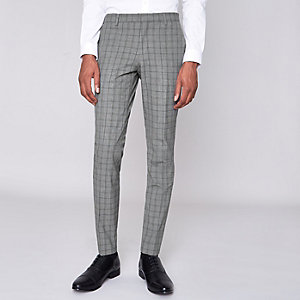 Grey check ultra skinny fit suit trousers