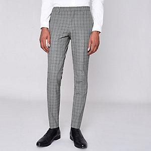 Grijze geruite superskinny pantalon
