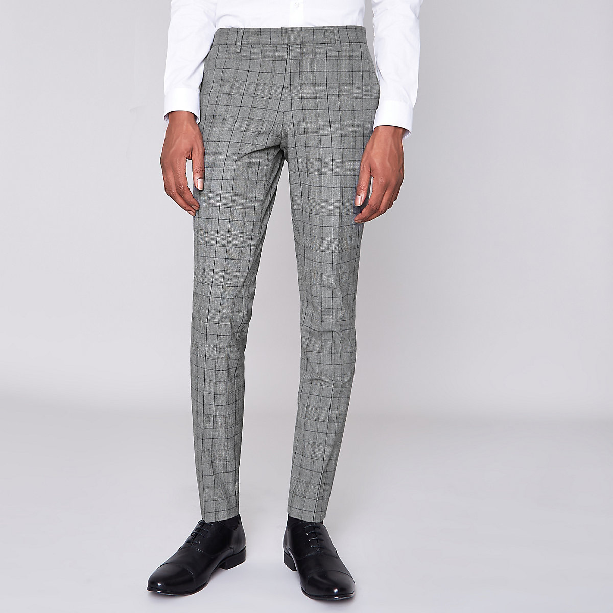 Grey check super skinny fit suit trousers