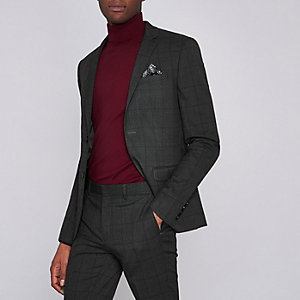 Veste de costume ultra skinny à carreaux grise