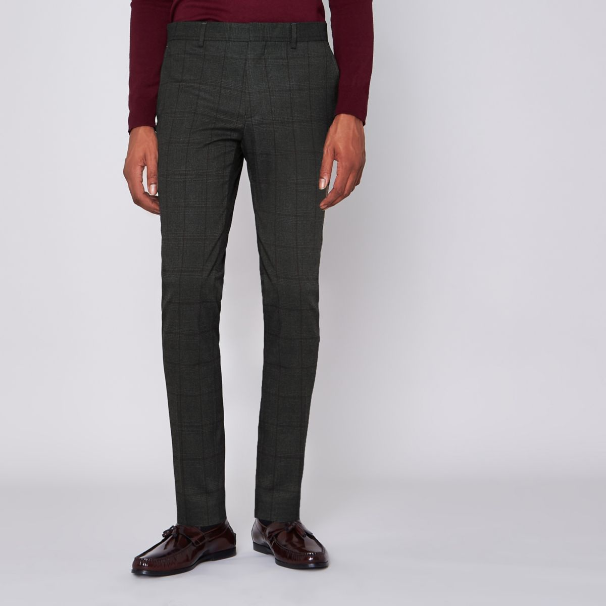 Grey check super skinny suit trousers