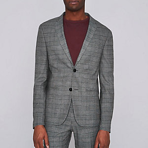 Brown check ultra skinny suit jacket