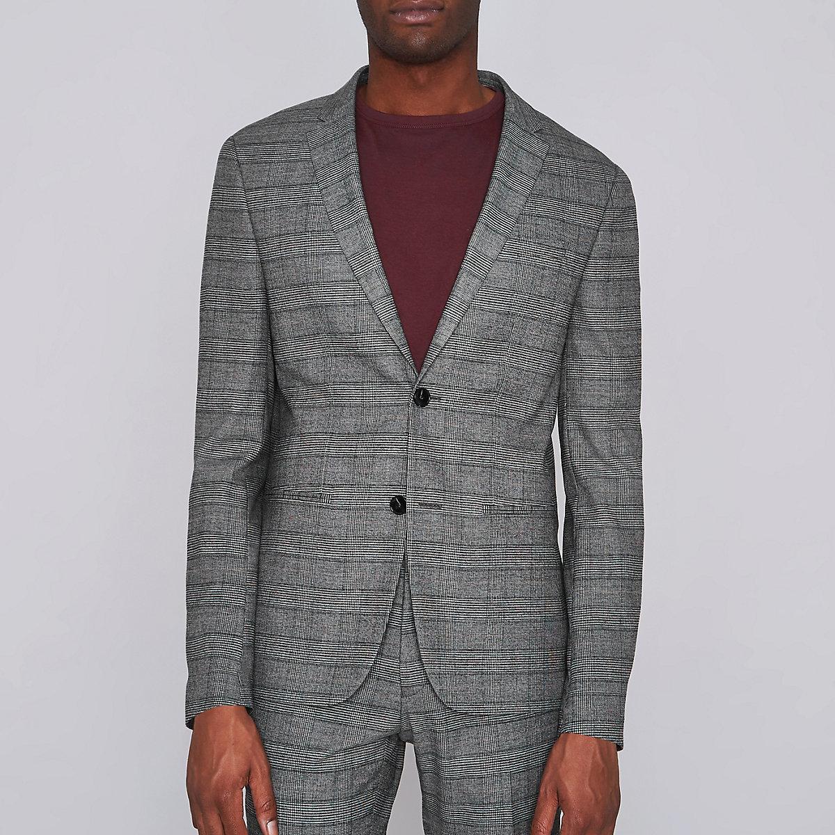 Brown check super skinny suit jacket