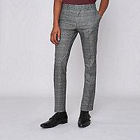 Pantalon de costume ultra skinny à carreaux marron