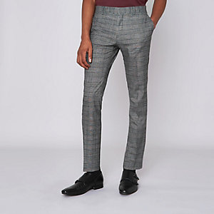 Brown check ultra skinny suit pants